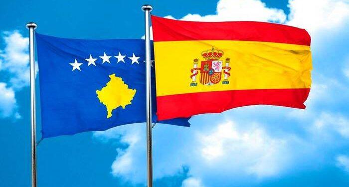 Kosovo flag with Spain flag, 3D rendering xFotosearchxLBRFx xargusx ESY-043958287