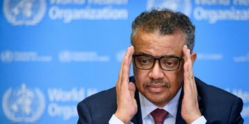 World Health Organization (WHO) Director-General Tedros Adhanom Ghebreyesus attends a daily press briefing on COVID-19 at the WHO headquaters on March 6, 2020 in Geneva. (Photo by FABRICE COFFRINI / AFP)
